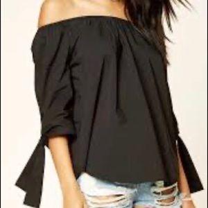 Sweet off the shoulder black blouse